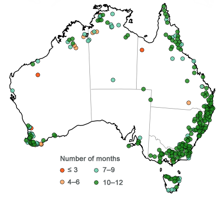 Map of Australia showing seasonal streamflow forecast sites, indicating greater than 75% of catchments have forecast precision and reliability between 10 and 12 months
